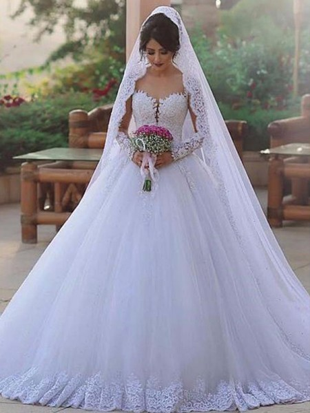 Ball Gown Long Sleeves Sweetheart Sweep/Brush Train Tulle Lace Wedding Dresses