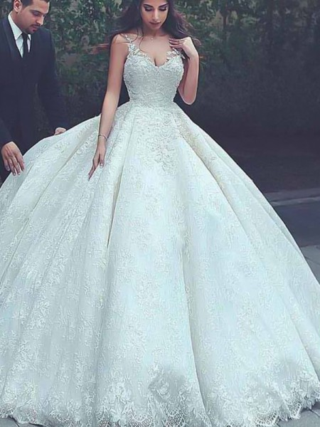 Ball Gown Sleeveless Spaghetti Straps Sweep/Brush Train Tulle Lace Wedding Dresses