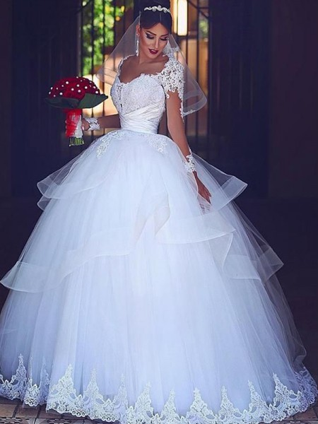 Ball Gown Long Sleeves Sweetheart Floor-Length Tulle Lace Wedding Dresses