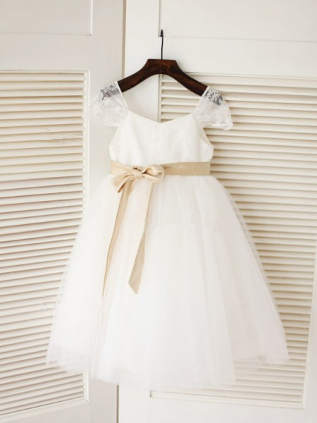 Ball Gown Scoop Sleeveless Tea-length White Flower Girl Dresses