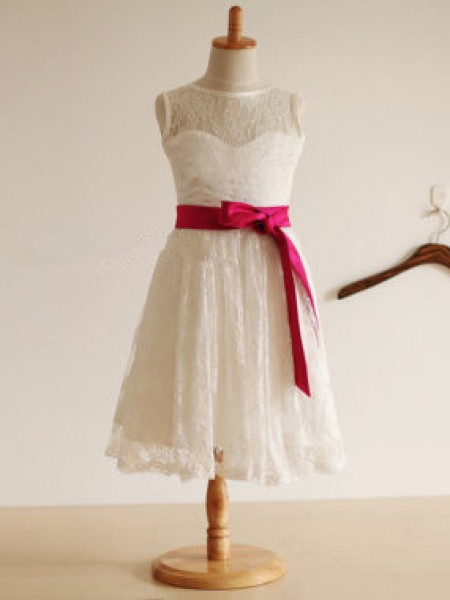 A-Line/Princess Jewel Sleeveless Tea-length White Flower Girl Dresses