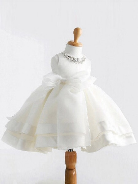 Ball Gown Jewel Sleeveless Tea-length White Flower Girl Dresses