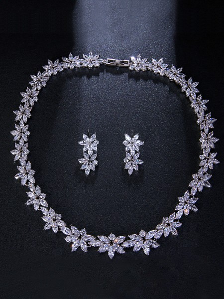 Wedding Bridal Occident Brilliant Alloy With Flowers Jewelry Set