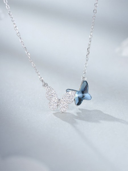 Simple Women's S925 Silver With Butterfly Necklaces