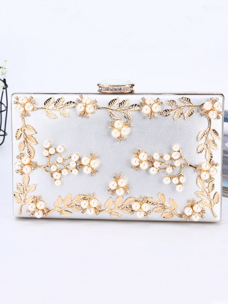 Luxurious PU Evening/Party Handbags With Beading