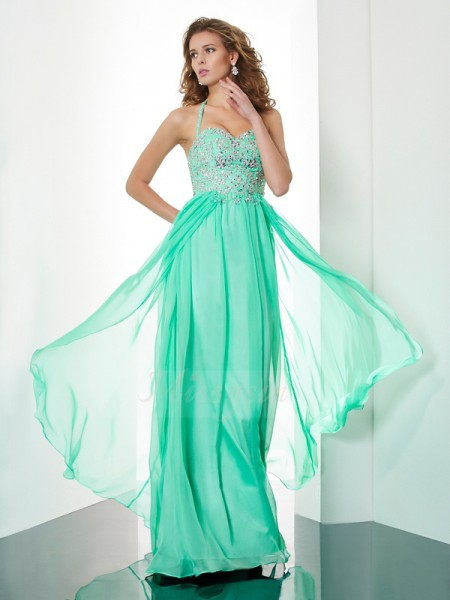 A-Line/Princess Halter Sleeveless Sweep/Brush Train Hunter Green Dresses