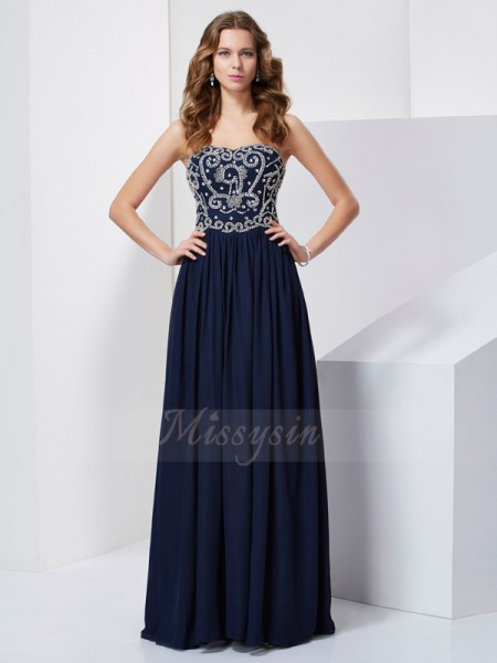A-Line/Princess Strapless Sleeveless Floor-Length Dark Navy Dresses