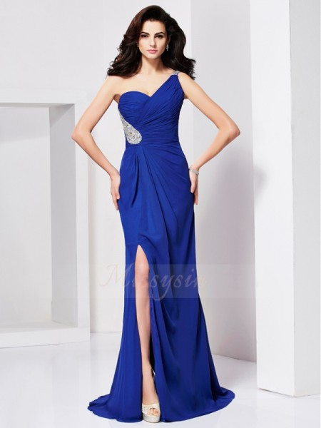A-Line/Princess One-Shoulder Sleeveless Sweep/Brush Train Royal Blue Dresses