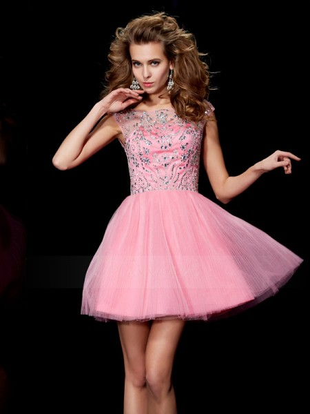 A-Line/Princess Bateau Sleeveless Short/Mini Pink Dresses