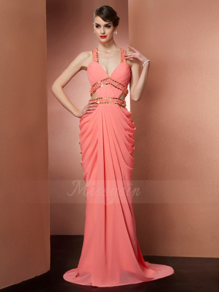 A-Line/Princess Halter Sleeveless Sweep/Brush Train Watermelon Dresses