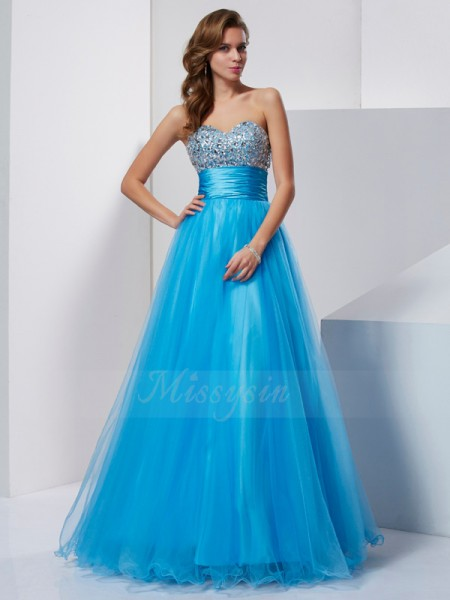 A-Line/Princess Sweetheart Sleeveless Floor-Length Blue Dresses