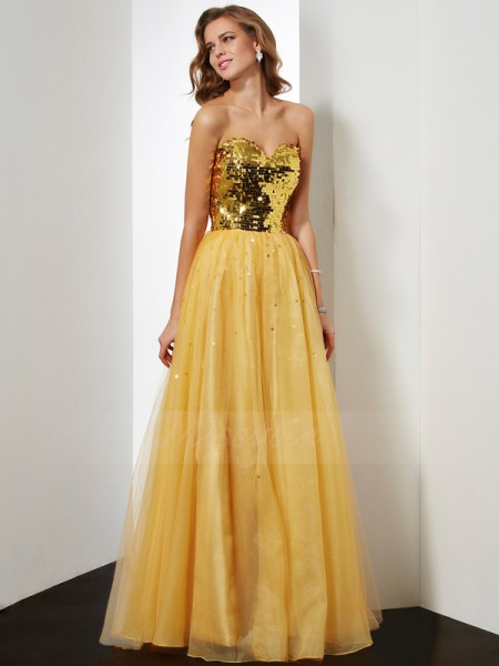 Ball Gown Sweetheart Sleeveless Floor-Length Gold Dresses