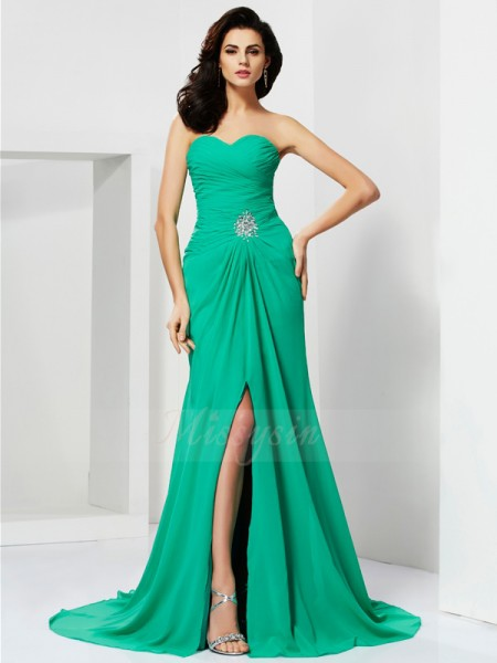 Sheath/Column Sweetheart Sleeveless Sweep/Brush Train Green Dresses