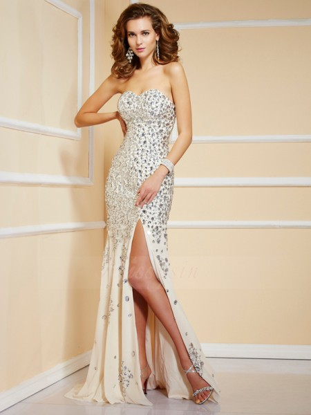 Sheath/Column Sweetheart Sleeveless Sweep/Brush Train Champagne Dresses