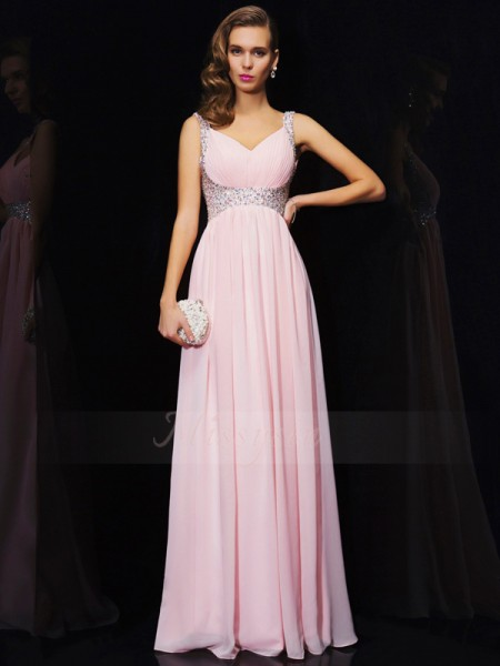 A-Line/Princess V-neck Straps Sleeveless Floor-Length Pink Dresses