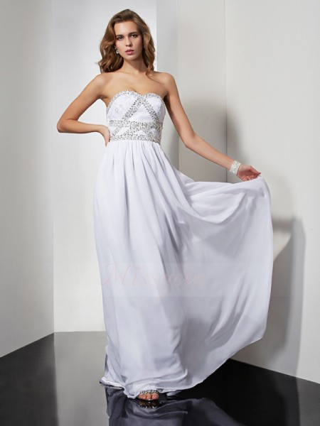 Sheath/Column Strapless Sweetheart Sleeveless Floor-Length White Dresses