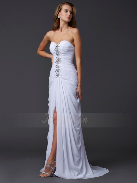Sheath/Column Sweetheart Sleeveless Sweep/Brush Train White Dresses