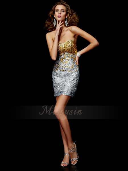 Sheath/Column Sweetheart Sleeveless Short/Mini Silver Dresses