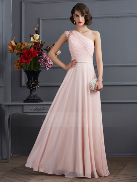 A-Line/Princess One-Shoulder Sleeveless Floor-Length Pearl Pink Dresses