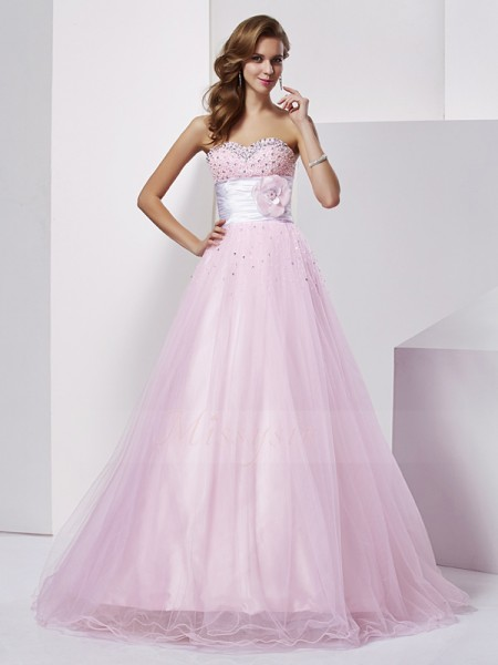Ball Gown Strapless Sweetheart Sleeveless Floor-Length Pearl Pink Dresses