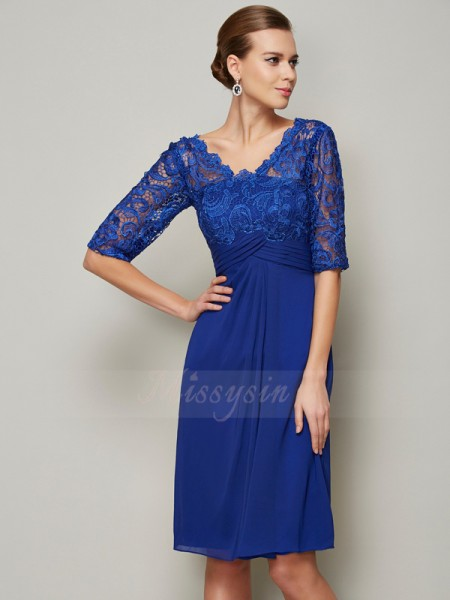 Sheath/Column V-neck 1/2 Sleeves Knee-Length Royal Blue Mother of the Bride Dresses