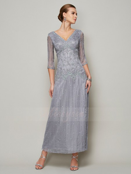 Sheath/Column V-neck 1/2 Sleeves Ankle-Length Silver Mother of the Bride Dresses