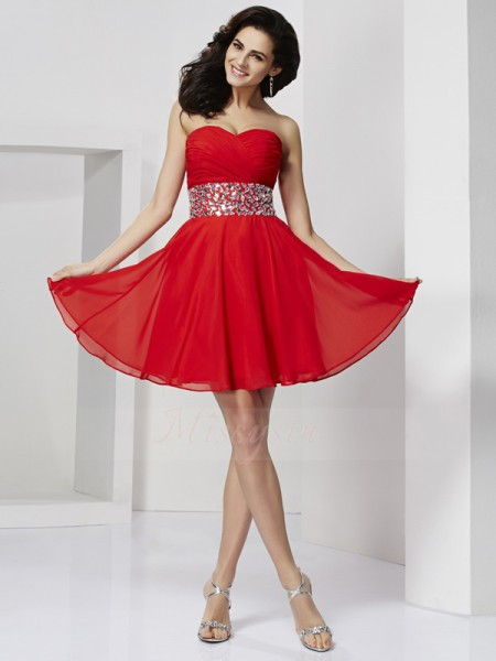 A-Line/Princess Sweetheart Sleeveless Short/Mini Red Dresses