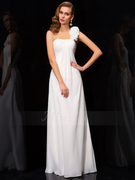 A-Line/Princess One-Shoulder Sleeveless Floor-Length White Dresses