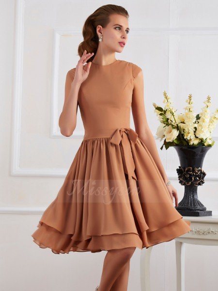 Sheath/Column High Neck Sleeveless Knee-Length Brown Bridesmaid Dresses