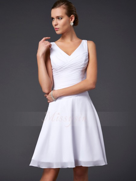 A-Line/Princess V-neck Sleeveless Knee-Length White Bridesmaid Dresses