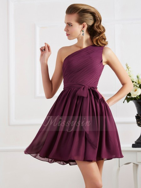 A-Line/Princess One-Shoulder Sleeveless Short/Mini Regency Dresses