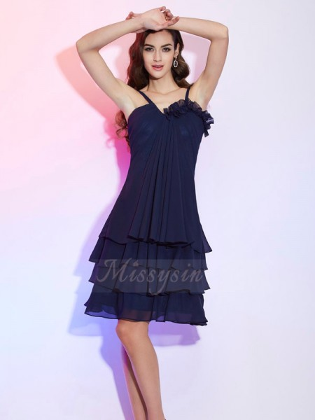 A-Line/Princess Spaghetti Straps Sleeveless Knee-Length Dark Navy Bridesmaid Dresses