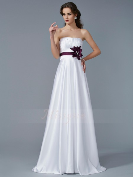 A-Line/Princess Strapless Sleeveless Sweep/Brush Train White Dresses