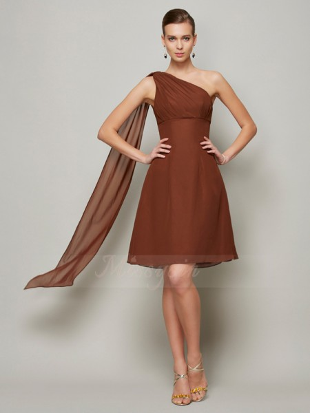 A-Line/Princess One-Shoulder Sleeveless Short/Mini Brown Bridesmaid Dresses