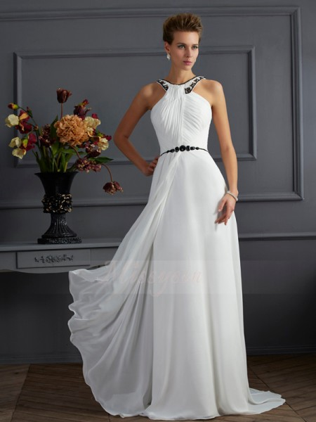 A-Line/Princess High Neck Sleeveless Sweep/Brush Train White Dresses