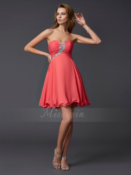 A-Line/Princess Sweetheart Sleeveless Short/Mini Watermelon Dresses