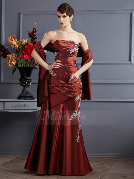 Sheath/Column Strapless Sleeveless Floor-Length Brown Dresses