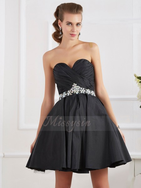 A-Line/Princess Sweetheart Sleeveless Short/Mini Black Dresses