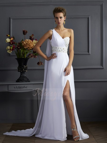 Sheath/Column One-Shoulder Sleeveless Sweep/Brush Train White Dresses