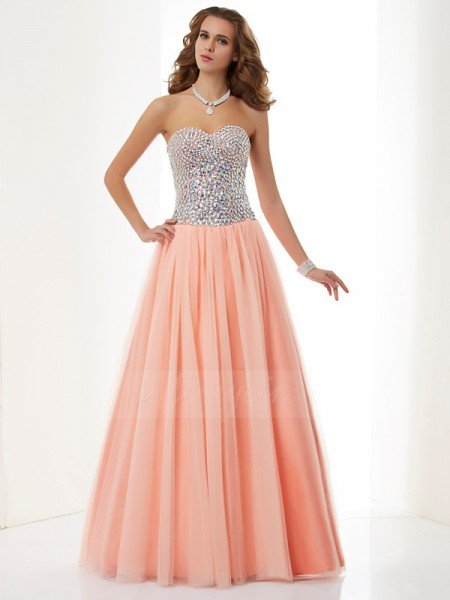 A-Line/Princess Sweetheart Sleeveless Floor-Length Orange Dresses