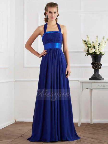 A-Line/Princess Halter Sleeveless Floor-Length Royal Blue Dresses