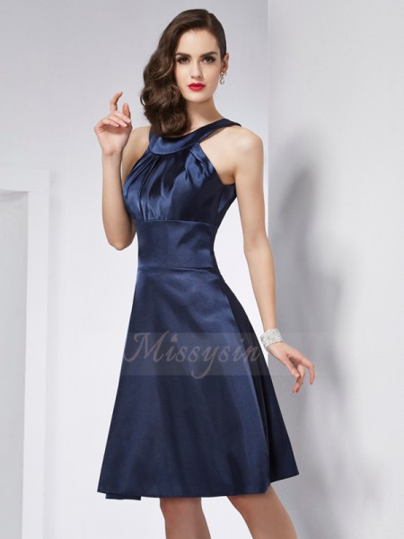 A-Line/Princess Scoop Sleeveless Knee-Length Dark Navy Dresses