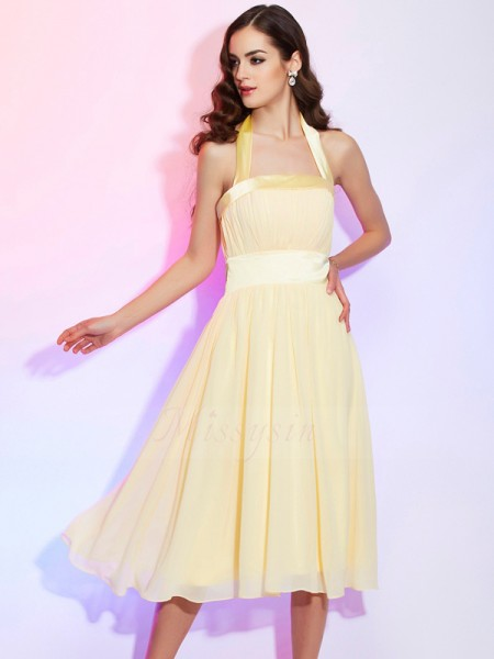 A-Line/Princess Halter Sleeveless Knee-Length Daffodil Dresses