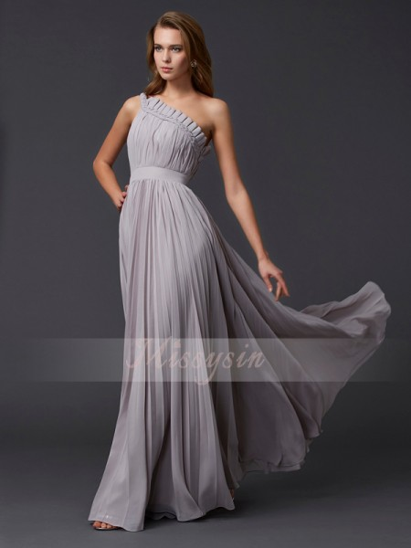 A-Line/Princess One-Shoulder Sleeveless Floor-Length Grey Dresses
