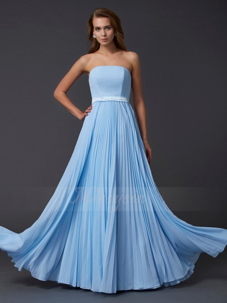 A-Line/Princess Strapless Sleeveless Floor-Length Light Sky Blue Dresses