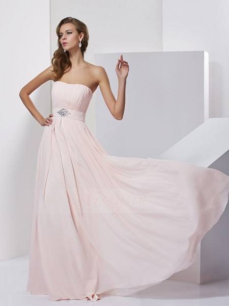 A-Line/Princess Strapless Sleeveless Floor-Length Pink Dresses