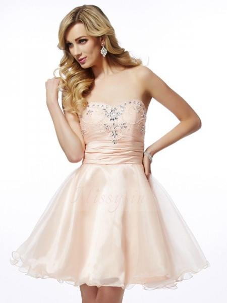 A-Line/Princess Sweetheart Sleeveless Short/Mini Pearl Pink Dresses