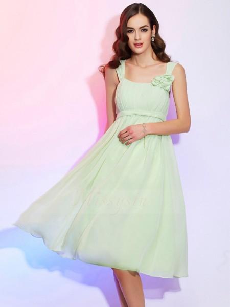 A-Line/Princess Straps Sleeveless Knee-Length Sage Dresses