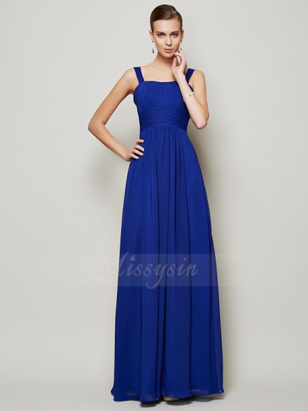 Sheath/Column Straps Sleeveless Floor-Length Royal Blue Dresses