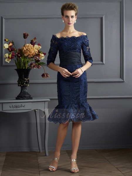 Sheath/Column Off-the-Shoulder 3/4 Sleeves Knee-Length Royal Blue Dresses